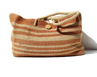 Tan and Orange Woven Straw Large Beach or Market Shoulder Tote Bag