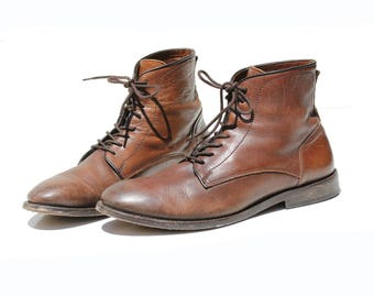 Vintage Men's Brown Leather Ankle Boots / size 10.5
