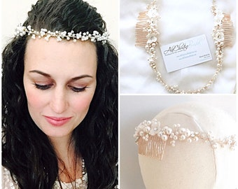 Floral Bridal crown, pearl halo, forehead hair accessory, wedding hair accessories, bridal hairpieces, pearl headpieces, EVELYN