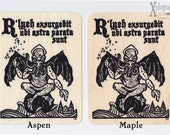 Cthulhu R'lyeh will rise when the stars are right screen print wood veneer card