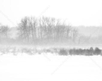 Winter White Out Landscape Digital Photo Download, Rural Winter Landscape Stock Photo, Minimalist Snowy Field Styled Background Image