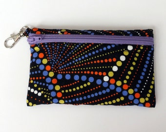 Multi Dots with Purple Zipper - Clip Coin Purse with Zipper Front
