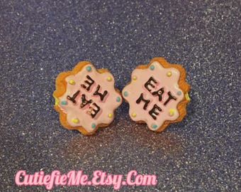 Eat Me Alice In Wonderland Cookie Stud Earrings