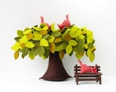 Weeping Willow Tree, Felt Tree with Crazy Red cats, Housewarming gift, Wind in the willow