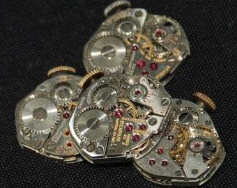 4 Vintage Watch Movements Parts Steampunk Altered Art Assemblage R 58