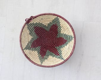 Woven Boho Basket Bowl Wall Hanging Round Weaving Sculptural