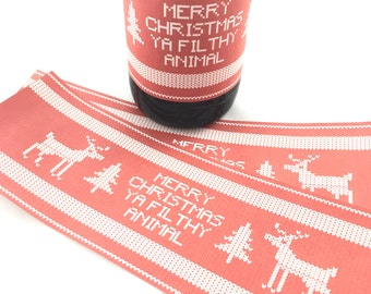 INSTANT DOWNLOAD (Digital) Merry Christmas Ya Filthy Animal Ugly Sweater Red and White Bottle Wrap