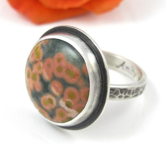 Ocean Jasper Ring - Distressed Sterling Silver Ocean Jasper ring - US size 7.75 - round Jasper ring - rustic ocean jasper ring - size 7 3/4