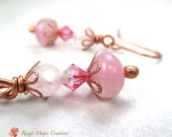 Pink Earrings Spring Jewelry, Rose Quartz, Czech Glass, Swarovski Crystal, Copper 1 inch Dangles Beaded Drop Earrings, Eclectic Jewelry E159