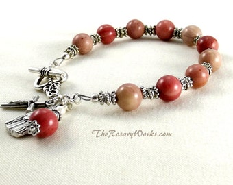 St Therese Rosary Bracelet Chaplet Pink Miraculous Medal Single Decade Mother of Sorrows Sacred Heart Good Shepherd Holy Spirit Rhodonite