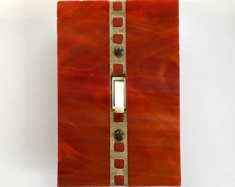 Red Switch Plate, Orange Light Switch Cover, Decorative Light Switch Plate, Stained Glass Wall Plate, Glass Switch Plates, Wall Decor, 8613