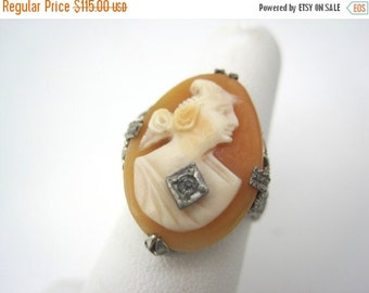 SALE Cameo Ring - Carved Shell Woman with Necklace - Sterling Silver Filigree