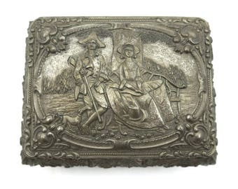 Colonial Trinket Box - Antique Jewelry Box, Romantic Courting Couple Scene