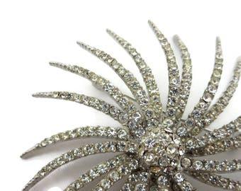 Rhinestone Starburst Brooch - Clear Rhinestones Atomic Era, Capri Costume Jewelry