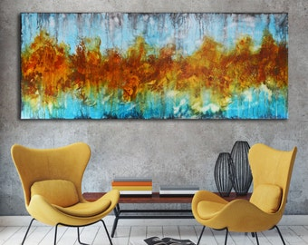 Long Modern Painting On Canvas, Abstract Art, Orange Aqua Blue Painting ,  Lobby Art