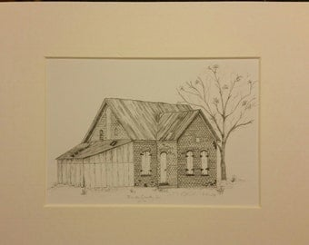 "Graphite Print, Vintage Parke County building, 5""x7"" matted print"
