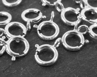 10 pcs Sterling Silver Spring Ring Clasp with Open Ring 5mm (CG2953b)