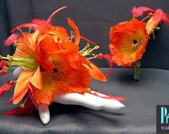 Bright Orange Wrist Corsage Set