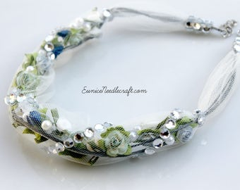 Tulle Tube Flower Necklace. Rhinestones. Pearls. Beads. Roses.