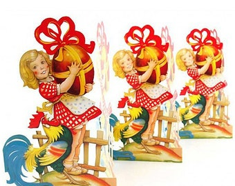 Sweden Paper Running Frieze Lithograph Die Cut Easter Girl With Egg Tabletop Garland  FRZ 19