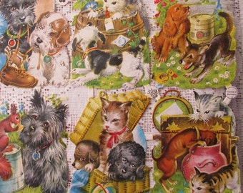 Vintage EAS Germany Die Cut Paper Scraps Glittered Puppies And Kittens Animal Friends  EAS 3149