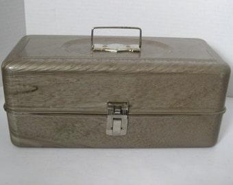 Vintage Tan Metal Fishing Tackle Box Storage Box