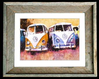 "Volkswagen Bus Art ""Purple Haze II"" Barn Wood or Black Framed and Matted Print Signed Numbered"