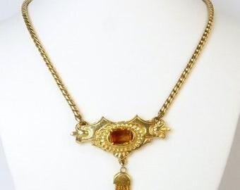 Victorian Revival Topaz Rhinestone Pendant Necklace