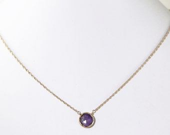 Purple Amethyst Necklace Gold Adjustable Necklace Genuine Amethyst 18k Gold Vermeil February Birthstone Semiprecious Gems BZ-P-105.2-Am/g