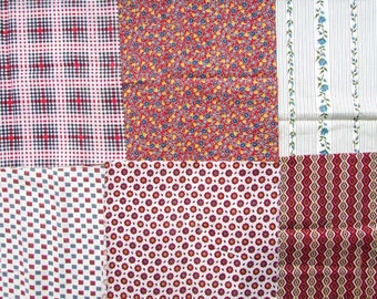 Vintage Fabrics Lot, 6 Different 1930's  Vintage Cotton Feed Sack Fabrics for Quilting, Project Fabrics, Vintage Scraps, Red, White, Blue