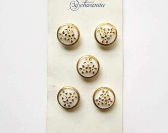 Card of 1970's Vintage Glass Buttons, Flower Buttons, Gold and White Buttons, Buttons by Schwanda