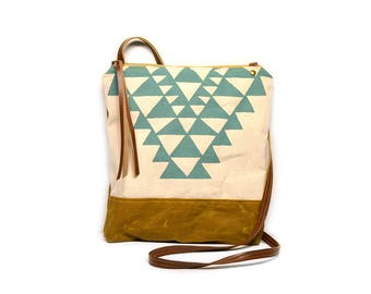 weekdayer • waxed canvas crossbody bag - geometric print • aqua blue geometric print - screenprinted - brown waxed canvas - summer bag