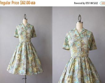 STOREWIDE SALE 1950s Dress / Vintage 50s Dixie Deb Fit and Flare Shirtwaist Dress / 50s Printed and Pleated Day Dress