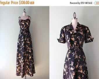 STOREWIDE SALE Vintage 1940s Dress / 40s Satin Brocade Gown / 1940s Golden Floral Maxi Dress with Bolero Small xs s m