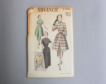 1950s Dress Pattern / 50s Sewing Pattern with Overskirt Peplum / Uncut Advance Pattern 5700 14 bust 32 waist 26 1/2
