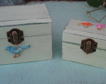 """Light Green """"Shabby Chic"""" Wooden Jewelry Box + Small One As A Gift"""