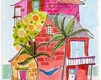 ACEO  Original  Watercolor Painting  Beach House