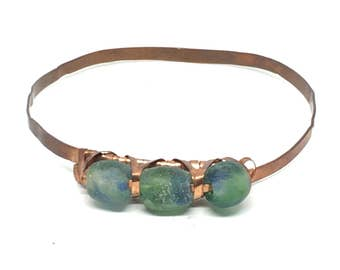 Copper Bracelets, for Men, for Women, Gifts under 50, Gifts under 40, Copper Bangle, Big Hand Bangle, Sea Glass Bracelet, Bangle Bracelet