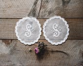 Antique Madeira Applique Doilies,Madeira Monogrammed Doilies,Vintage Doilies,Doilies,Antique White Work,Vintage Textiles, Sewing Supplies