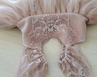 "Dusty blush/ dusty rose/ dusty taupe ""Raspberry Field"" Flower Girl Dress French Lace and Silk like Tulle Dress for baby girl"
