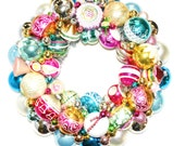 Vintage Ornament Christmas Wreath Holiday Shabby Pink Glass tinsel garland
