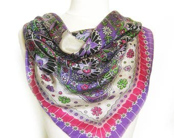 1950s Vintage SILK Scarf / Floral and Paisley Print Scarf / Rolled Hem / Sheer Scarf in Pink and Purple / Gift for Her / Neck Scarf