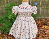 Baby girl Christmas dress, hand smocked, size 18 Mo. Red bells, Holly & berries, Ready to ship, Holiday, Toddler dress, OOAK, Classic dress