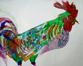 EMERY original painting 'rooster spirit animal of the year outsmarts cockfight' expressionism folk  outsider rooster