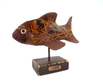 Brisa fiber art fish soft sculpture, eco-friendly, bead embroidery, home decor, textile art, fiber collage, self standing art object