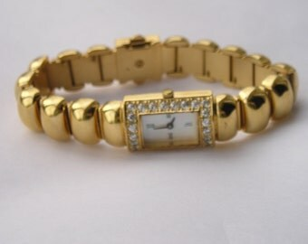 Chunky Franklin Mint Crystal Gold mop Womens Watch
