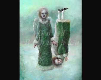 Snow Angels (Are Not Really Good For Anything), Original Painting, Snow, Surrealism, Angels, Green Robes,  Fur Trim, Two Angels, Oddity