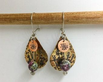 Brass and Copper Ruby Zoisite Wildflower Dangle Earrings