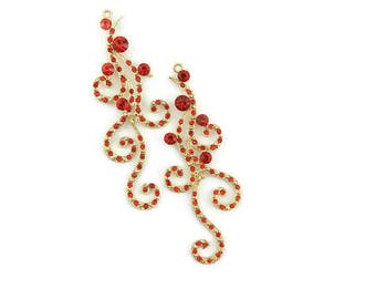 Pair of Long Swirly Drop Charms Gold-tone Red Rhinestones