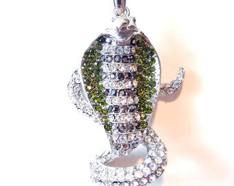 Large Cobra Snake Pendant Silver-tone with Green, Hematite and Clear Rhinestones
